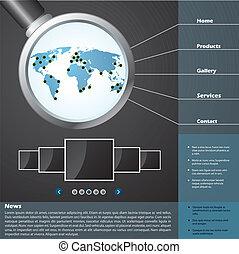 网站, 样板, 设计, 带, 放大器