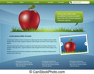 网站, 样板, 设计, 带, 苹果