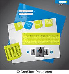 网站, 样板, 设计, 带, notepapers