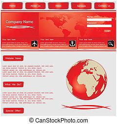 网站, 设计, 样板