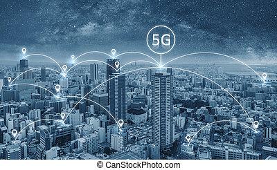 网絡, 連接, 技術, 在城市, 由于, 5g, 網際網路, 聯网, 簽署