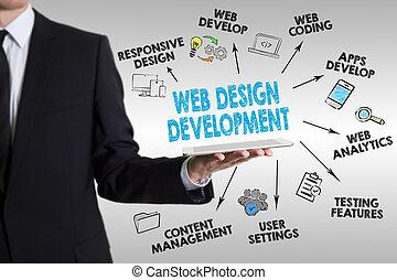 网络设计, 同时,, 发展, 概念, 年轻人, 握住一个牌子, 计算机