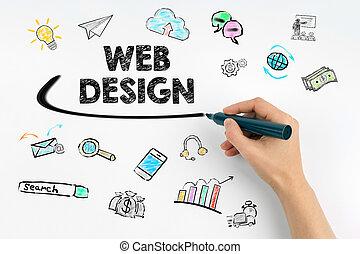 网络设计, concept., 手, 带, 记号, 作品
