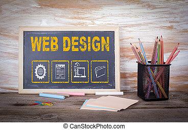 网络设计, concept., 老, 木制的桌子, 带, 结构