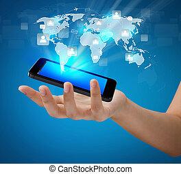 网络, 显示, 机动的通信, 现代, 手, 电话, 握住, 社会, 技术