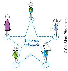 网络, 签署, 商业, 星