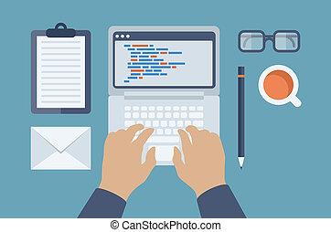网, 以及, html, 編程, 套間, 插圖