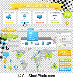 网, 元素, 样板, 图标, 滑轨, 旗帜, 同时,, buttons., 矢量, 地图, 带, marks.