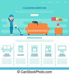 网, 公司, 清掃, 樣板, 頁
