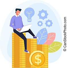 网, 圖表, 工作, 套間, 膝上型, 工作, 工人, 插圖, 投資, 自由職業者, 矢量, 設計, 在網上, computer., 網際網路, concept., 卡通