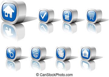 网, 按鈕, 藍色, 集合, 1, 在, 金屬, 由于, 反映, &, 陰影