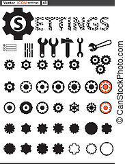 网, 放置, settings, cogwheel, icons., 矢量