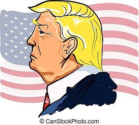 网, 王牌, 顏色, 說明, donald, 矢量, 肖像, 總統