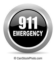 网, 緊急事件, 鉻, 數字, 金屬, 黑色, 有光澤, 環繞,  911, 圖象