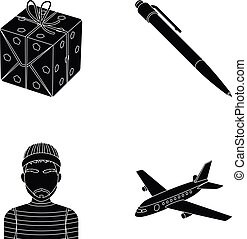 网, 集合, 運輸, 圖象, collection., 其他, 黑色, 訓練, style., 圖象