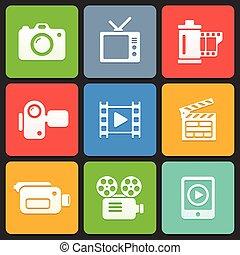 网, mobile., 鮮艷, 圖象, 媒介, 矢量