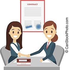署名, の上, contract.