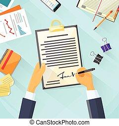 署名, オフィス, ビジネス, 机, の上, 印, 合意, 契約, ビジネスマン, 文書, 署名, 人