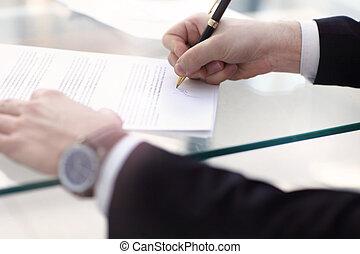 署名, ビジネス契約, 人