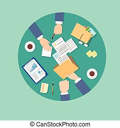 署名, ビジネス 人々, 合意, 契約, の上, ペーパー, フォルダー, 文書