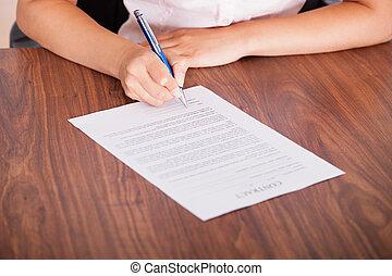 署名, ペーパー, 契約, 女
