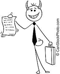 署名, 悪魔, 提供, 合意, イラスト, 漫画, 契約, ビジネスマン, 微笑, セールスマン, ∥あるいは∥