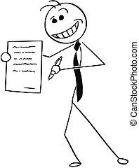 署名, 提供, 合意, イラスト, 漫画, sleazy, 契約, ビジネスマン, 微笑, セールスマン, ∥あるいは∥