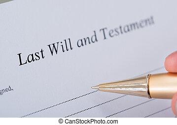 署名, 最後, 手, 意志, 新約聖書, 文書