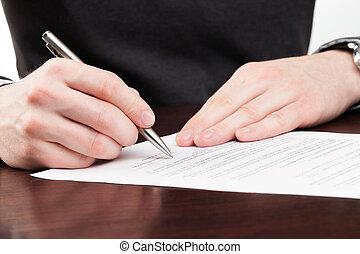 署名, 男性, 契約, ビジネス