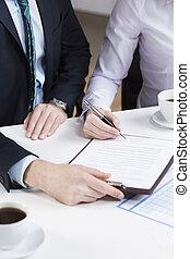 署名, businessperson, 文書, 重要