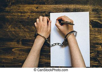 署名, confession, 上, 女性手, 平手打ちされる, 光景