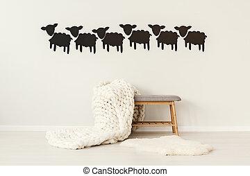 羊毛, 毛毯, 上, 長凳
