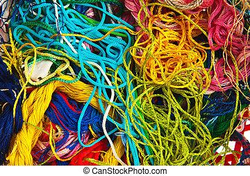 羊毛, 編むこと, カラフルである, 背景