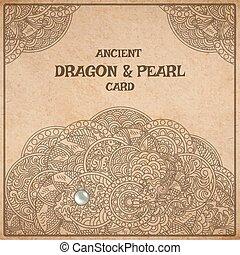 羊皮紙, カード, ドラゴン