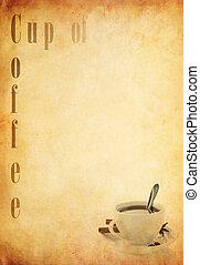 羊皮紙, ペーパー, 古い, カップ, コーヒー