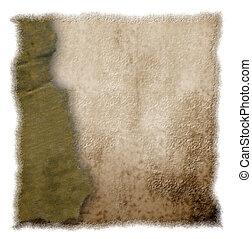 羊皮紙, 古い, 背景, 隔離された, 壊される, 白