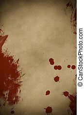 羊皮紙, 血, spattered