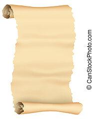 羊皮纸卷, 背景, 隔离, 葡萄收获期, 白色