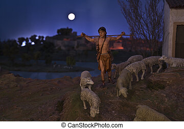 羊飼い, 若い, 夜