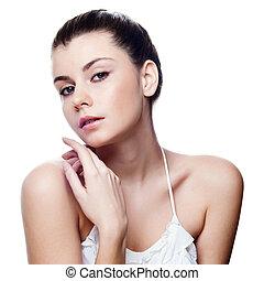 美しい女性, かなり, face., 若い, 女性, ポーズを取る, 背景, 皮膚, きれいにしなさい, 白