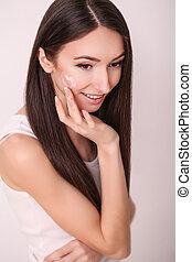 美しい女性, きれいにしなさい, 美しさ, 美容術, 若い, 顔, 新たに, 待遇, 美顔術, 皮膚, 感触, エステ