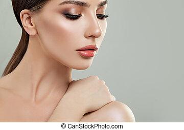 美しい女性, きれいにしなさい, 美しさ, 若い, 顔, treatment., skin., 美顔術, 女の子, care.
