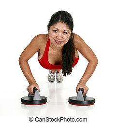 美しい女性, すること, pushups