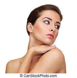 美しい女性, ∥で∥, きれいにしなさい, 完全な皮, 隔離された, 白, 背景