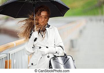 美しい女性, ∥で∥, 傘, 雨