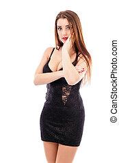 美しい女性, ∥で∥, 長い茶色の髪, 手を持つ, 上に, 顔