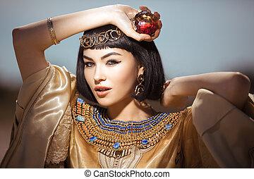 美しい女性, のように, エジプト人, cleopatra, 屋外
