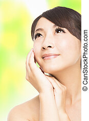 美しい女性, の上, 若い, アジア人, 終わり, 顔