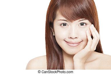 美しい女性, の上, 顔, アジア人, 終わり