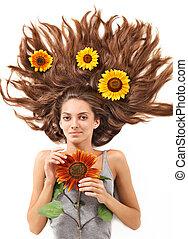 美しい女性, ひまわり, 毛, 分散させる, 若い, 長い間, ブルネット, 白